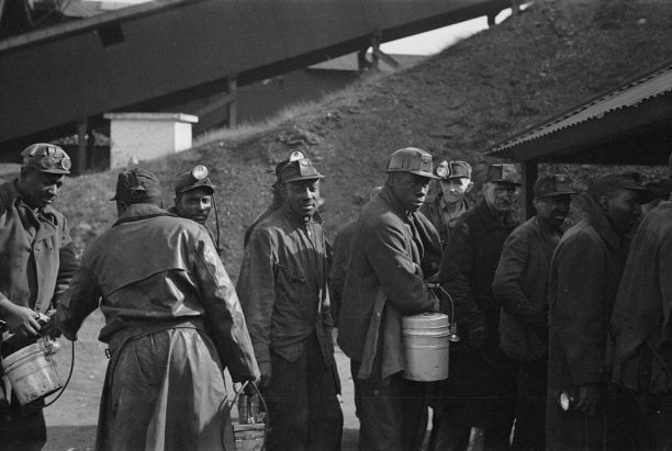Untitled photograph, likely from the Birmingham coal miners' series, coal miners, February 1937. (Photograph by Arthur Rothstein, Library of Congress, Prints and Photographs Division)