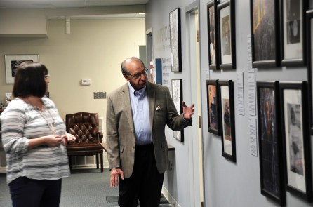 Joel Rotenstreich talks with Kendall Chew, outreach coordinator of the Birmingham Holocaust Education Center, which has benefited from Rosenstreich's fund-raising and longtime support. (Karim Shamsi-Basha/Alabama NewsCenter)