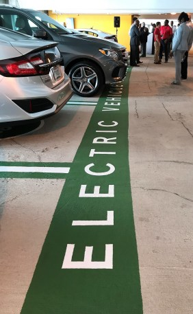 Birmingham-Shuttlesworth International Airport now has nine free electric-vehicle charging stations, the latest in its series of environmentally friendly features. (Michael Sznajderman/Alabama NewsCenter)