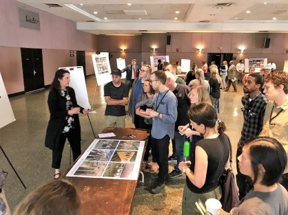 Members of the public get a look at concepts for the proposed CityWalk BHAM linear park during an informational and public participation session at Boutwell Municipal Auditorium. (Michael Sznajderman/Alabama NewsCenter)