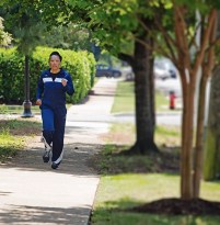 Leatherwood running today. (Meg McKinney/Alabama NewsCenter)