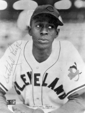 Satchel Paige joined Major League Baseball as a rookie at the age of 42 in 1948 with the Cleveland Indians. He was the first African-American to pitch in the American League. (From Encyclopedia of Alabama, The Doy Leale McCall Rare Book and Manuscript Library)