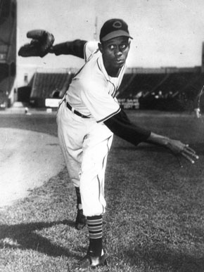 """Leroy """"Satchel"""" Paige first pitched against major league hitters in 1930 when his Birmingham Black Barons played the Babe Ruth All-Stars. He began playing in the major leagues in 1948. (From Encyclopedia of Alabama, The Doy Leale McCall Rare Book and Manuscript Library)"""