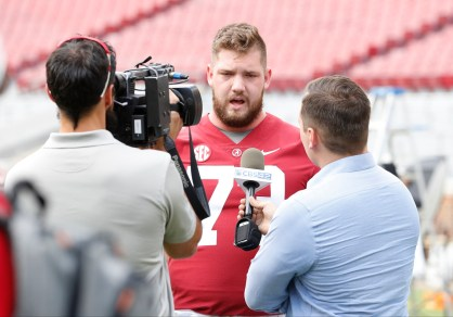 Alabama offensive lineman and Outland Trophy candidate Jonah Williams meets the press at practice. (Amelia B. Barton/University of Alabama Athletics)