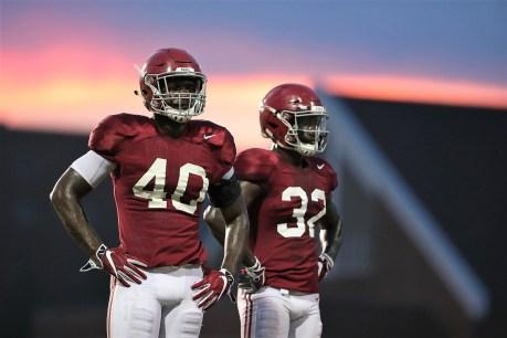 Linebackers Joshua McMillon (40) and Dylan Moses (32). (Kent Gidley/University of Alabama Athletics)