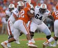 Mike Horton (64) is a key member of what Auburn coaches and players believe is an improved offensive line this year. (Todd Van Emst/AU Athletics)
