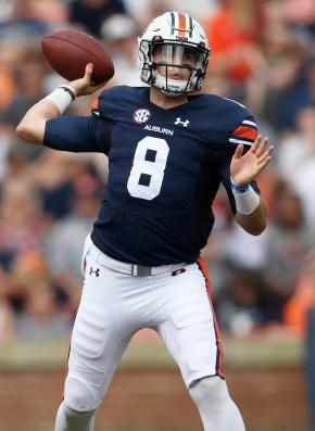 Auburn quarterback Jarrett Stidham (8) threw successfully last year and is back for another season. (Todd Van Emst/AU Athletics)
