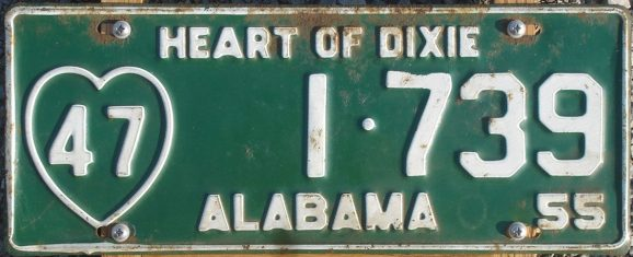 Alabama passenger vehicle license plate, 1955. (Alabama Department of Revenue, Motor Vehicle Division, Wikipedia)