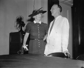 Sen. and Mrs. Hugo L. Black photographed at the Capitol today shortly after Black's nomination as a member of the Supreme Court was received in the Senate chamber; Aug. 12, 1937. (Harris & Ewing, Library of Congress, Prints and Photographs Division)