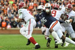 Dontavius Russell (95) is a leader on Auburn's defense this year, Coach Gus Malzahn says. (Wade Rackley/Auburn Athletics)