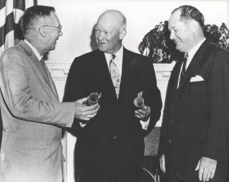 The National Aeronautics and Space Administration (NASA) was created on Oct. 1, 1958, to perform civilian research related to space flight and aeronautics. President Eisenhower commissioned Dr. T. Keith Glernan, right, as the first administrator for NASA and Dr. Hugh L. Dryden as deputy administrator. (NASA)