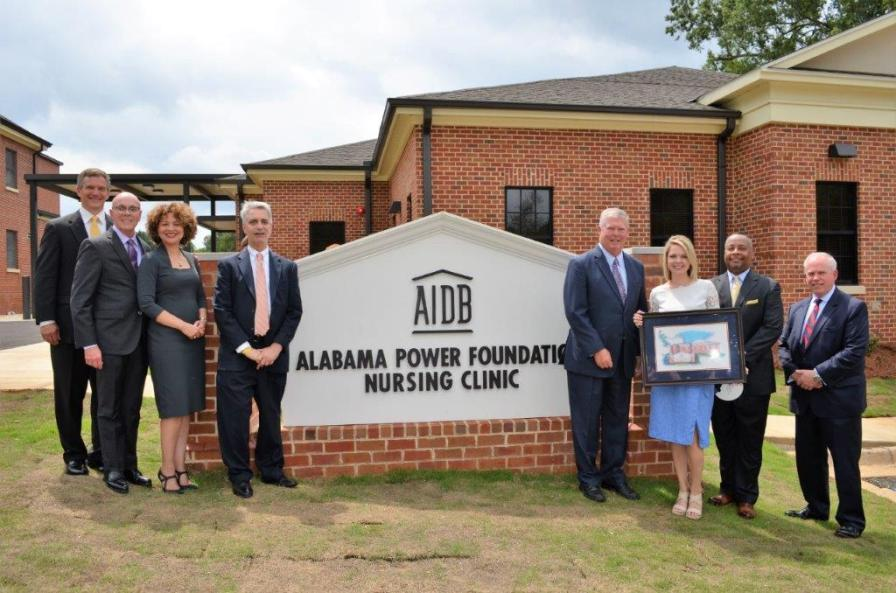 Officials and students from AIDB joined Alabama Power Foundation and other contributors to mark the grand opening of the new nursing clinic. (Michael Tomberlin / Alabama NewsCenter)