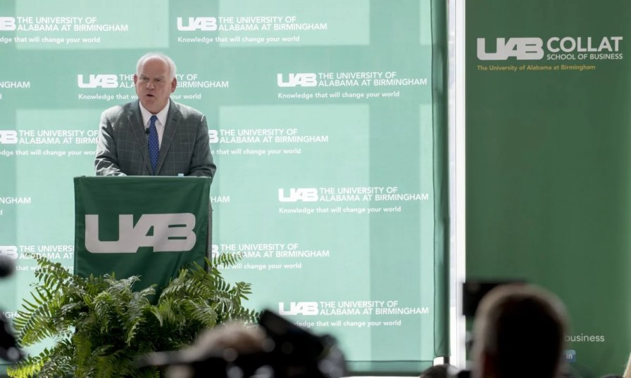 UAB President Watts speaks at the grand opening. (Adam Pope/UAB)