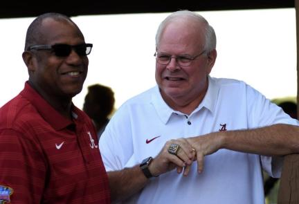 Former Alabama Crimson Tide running back Bobby Humphrey with Eli Gold, the voice of the Crimson Tide radio football broadcasts. (Solomon Crenshaw Jr. / Alabama NewsCenter)
