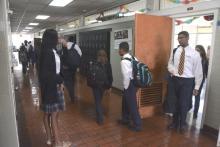 Students fill the hallway between classes at Holy Family Cristo Rey Catholic High School. (Karim Shamsi-Basha / Alabama NewsCenter)