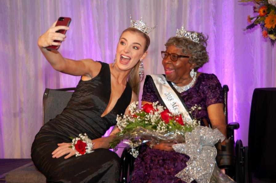 Miss Alabama 2018 Callie Walker takes a selfie with Ms. Alabama Nursing Home 2018 Annie Avery. (contributed)
