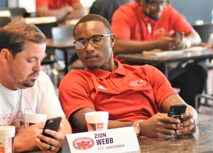 Zion Webb, right, is vying with Zerrick Cooper to start at quarterback for Jacksonville State this fall. (Solomon Crenshaw Jr./Alabama NewsCenter)
