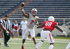 Quarterback Cephus Johnson competes during this year's South Alabama Red & Blue Game. (Scott Donaldson)