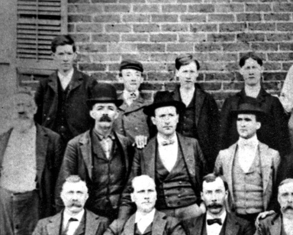 A young Hugo Black (back row, center) posing with lifelong friend Barney Whatley (back row, right) and several local residents in Ashland, Clay County, c. late 1890s. (From Encyclopedia of Alabama, courtesy of Alabama Department of Archives and History)