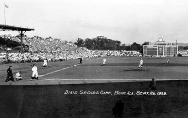 A 1926 photograph of a Dixie Series game at Rickwood Field in Birmingham. (From Encyclopedia of Alabama, courtesy of Birmingham Public Library Archives)