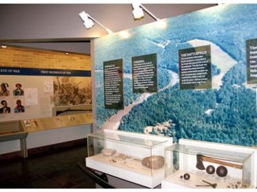 The Visitor Center at the Horseshoe Bend National Military Park in Tallapoosa County was dedicated in March 1964. The center contains exhibits on the history of the park, Creek and Cherokee culture, and the Battle of Horseshoe Bend. (From Encyclopedia of Alabama, Alabama Tourism Department)