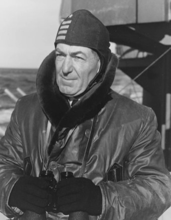 Commanding officer, Capt. George B. Wilson, on board the USS Alabama (BB-60); January 1943. (National Archives, Naval History and Heritage Command)