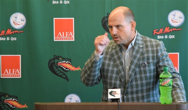UAB Head Coach Bill Clark announces an upcoming game in which his players will wear special jerseys featuring the names of Children's Harbor patients. (contributed)