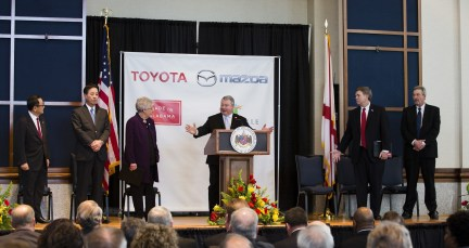 Commerce Secretary Greg Canfield kicks off a press conference to reveal details about the Toyota-Mazda auto plant in Huntsville. (Rob Culpepper)