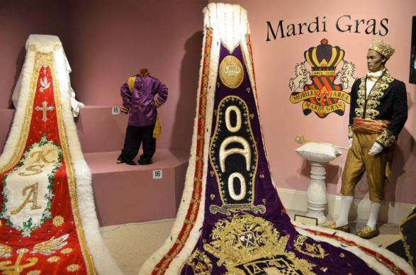 Patricia Richardson's Mardi Gras trains are on display at the Mobile Carnival Museum. (Michael Tomberlin / Alabama NewsCenter)
