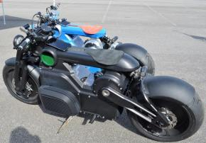 """The Zeus motorcycle from the """"Hot Rod Gods"""" collection is the first electric motorcycle from Birmingham's Curtiss Motorcycles. (Michael Tomberlin / Alabama NewsCenter)"""