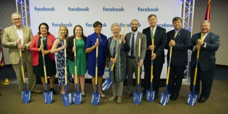 Officials celebrate Facebook's June announcement of plans to establish a data center in Huntsville. (contributed)