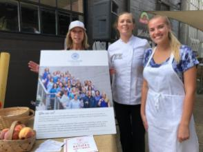 Chef Brittany Garrigus, center, was joined by Susan Swagler, left, and Les Dames d'Escoffier scholarship recipient Sydney Smith, right, at the Market at Pepper Place. (contributed)