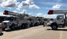 Alabama Power crews in Montgomery were among those who loaded up and rolled out Tuesday to safely preposition and be prepared to assist other states after Hurricane Florence makes landfall. (Michael Jordan / Alabama NewsCenter)