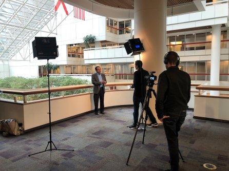 Alabama Power's Pradeep Vitta is interviewed as a finalist for the Kanthal Award. (Katie Bolton / Alabama NewsCenter)