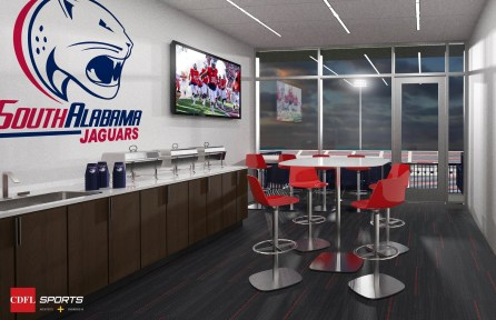 A rendering shows a suite in the planned University of South Alabama on-campus football stadium. (CDFL Sports Architects + Engineers)