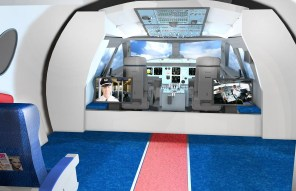 A life-sized cockpit will be one of the features in Flight Works Alabama. (Airbus)