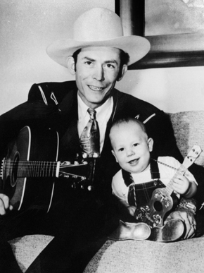 Hank Williams Sr. and Hank Williams Jr., c. 1950. Hank Williams Jr. was born to Hank and Audrey Williams on May 26, 1949, in Shreveport, Louisiana. At 8 years of age Hank Jr. was touring, playing his father's songs and at age 11 he made his first appearance at the Grand Ole Opry. (From Encyclopedia of Alabama, courtesy of Hank Williams Boyhood Home/Museum)