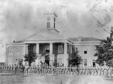 Cadets muster outside the library on the campus of Howard College in Marion, Perry County, in 1858. The school, now Samford University, moved to the Birmingham area in 1887. During the Civil War, the Marion campus served as a military hospital. (From Encyclopedia of Alabama, courtesy of Samford University Special Collections)