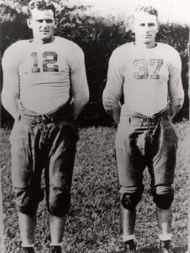 Paul Bryant, left, and Don Hutson were members of the University of Alabama Crimson Tide football team in 1934. Hutson went on to play professionally for the Green Bay Packers, and Bryant amassed a stellar college coaching career, including six national championships at his alma mater. (From Encyclopedia of Alabama, courtesy of Paul W. Bryant Museum, University of Alabama)