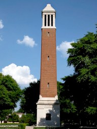 Denny Chimes is a bell tower on the University of Alabama campus in Tuscaloosa. It was named for former president George Hutcheson Denny, who oversaw a broad expansion of the university during the early 20th century, including its football team. (From Encyclopedia of Alabama, courtesy of The George F. Landegger Collection of Alabama Photographs in Carol M. Highsmith's America, Library of Congress, Prints and Photographs Division)