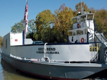 The Gee's Bend Ferry runs between Gee's Bend and Camden, the county seat of Wilcox County. In the 1960s ferry service was discontinued to keep African-Americans from reaching Camden to register to vote. The ferry service was reactivated in 2006. (From Encyclopedia of Alabama, courtesy of Alabama Tourism Department)