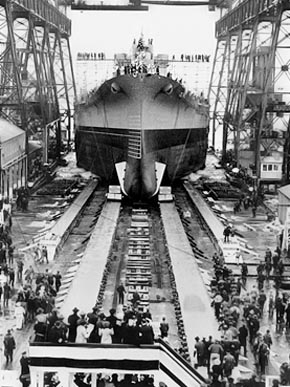 The battleship USS Alabama is launched from the Norfolk Navy Yard in Portsmouth, Virginia, on Feb. 16, 1942. (From Encyclopedia of Alabama, U.S. Navy)