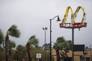 McDonald's Corp. signage stands damaged from Hurricane Michael in Panama City Beach, Florida. (Luke Sharrett/Bloomberg)