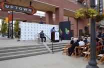 Birmingham Mayor Randall Woodfin speaks at the 1,000-day countdown for the 2021 World Games in Birmingham. (Michael Tomberlin / Alabama NewsCenter)