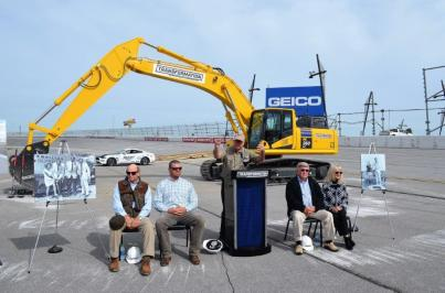 Officials pose at the groundbreaking of the Turn 3 Oversized Vehicle Tunnel as part of the $50 million Transformation project. (Michael Tomberlin / Alabama NewsCenter)