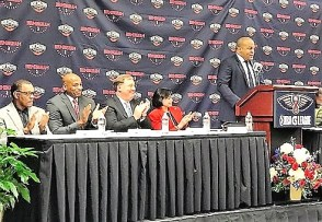 Malcolm Turner, president of the NBA G League, speaks at a press conference announcing Birmingham will be home to the New Orleans Pelicans' developmental league team. (Michael Tomberlin / Alabama NewsCenter)