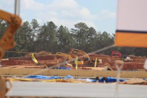 Construction is underway at the site of the Bessemer Amazon fulfillment center. (Dennis Washington)