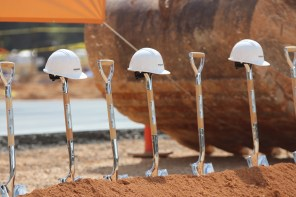 Shovels up - signs of the groundbreaking that is to come. (Dennis Washington)
