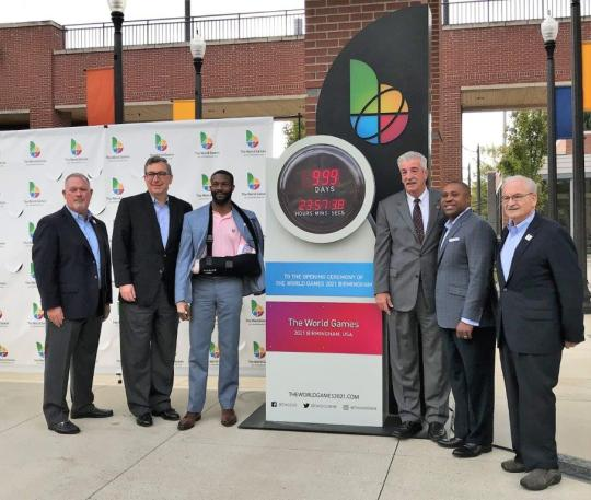 Officials with the 2021 Birmingham World Games unveiled a countdown clock marking 1,000 days before the international sporting competitions kick off in the metro area. (Michael Tomberlin / Alabama NewsCenter)