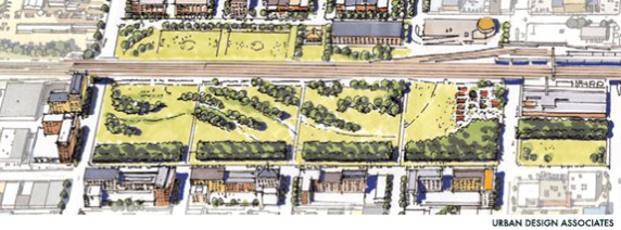 Schematic view of the proposed Railroad Reservation Park. (From BhamWiki, Urban Design Associates)